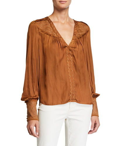 Juston Embroidered V-Neck Bishop-Sleeve Blouse