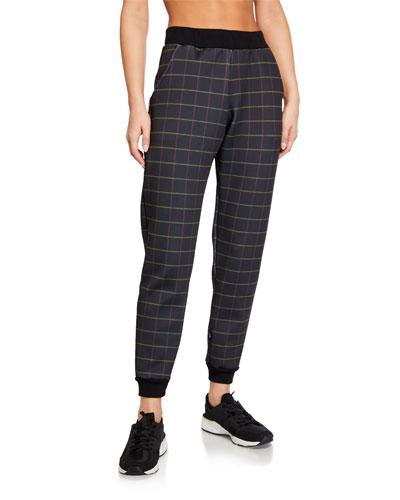 Grid Printed Scuba Jogger Pants