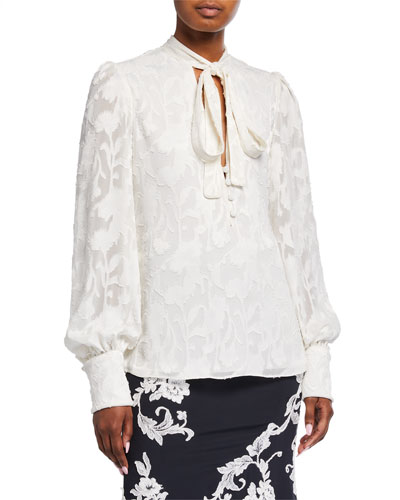 Julita Tie-Neck Jacquard Blouse
