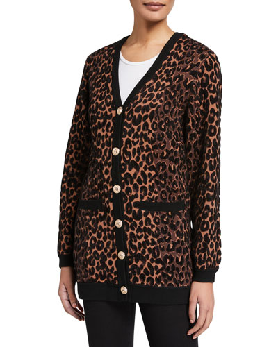 Textured Cheetah Button-Front Cardigan