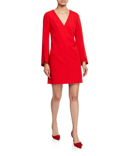Nicolette V-Neck Slit-Sleeve Sustainable Cady Dress