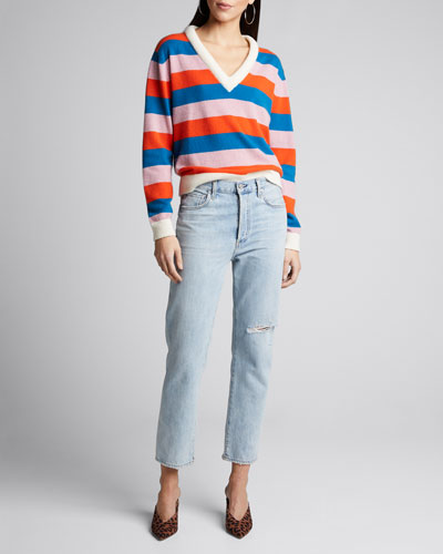 The Deedee Striped V-Neck Cashmere Sweater