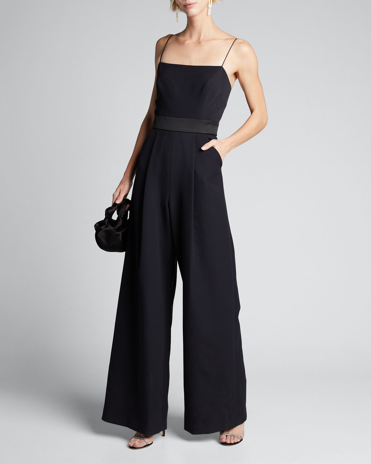 Milly Suits REINA SLEEVELESS TIE-BACK WIDE-LEG JUMPSUIT