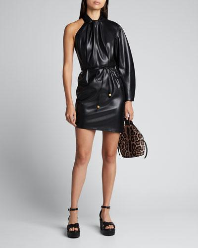 Ida One-Sleeve Vegan Leather Dress