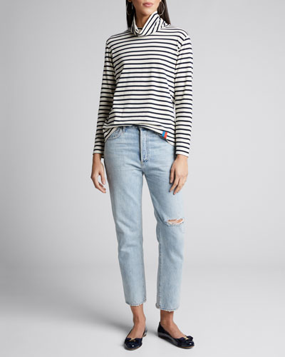 The Turtleneck Striped Long-Sleeve Cotton Sweater