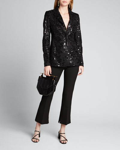Firdas Sequined Single-Button Jacket