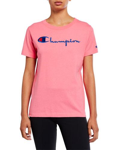 Big Script Crewneck Short-Sleeve Logo T-Shirt
