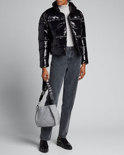 Shiny Zip-Front Puffer Jacket