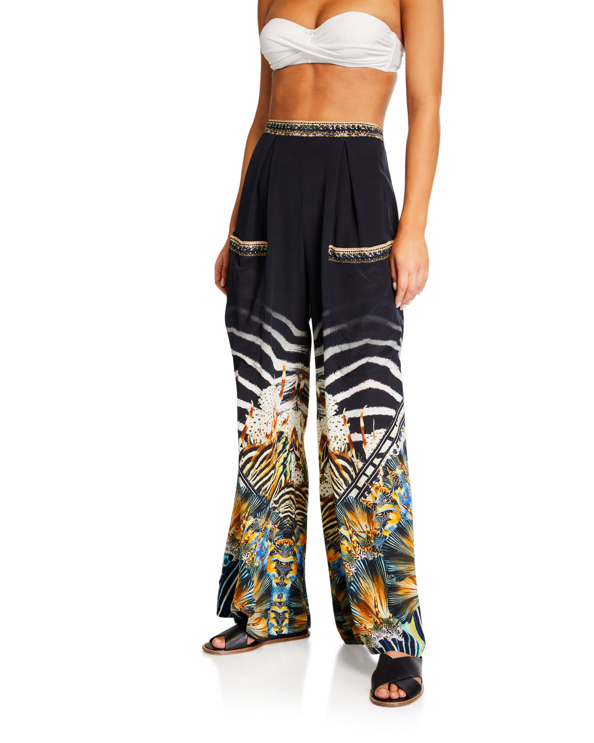 Camilla Pants WIDE LEG PRINTED TROUSERS W/ FRONT POCKETS