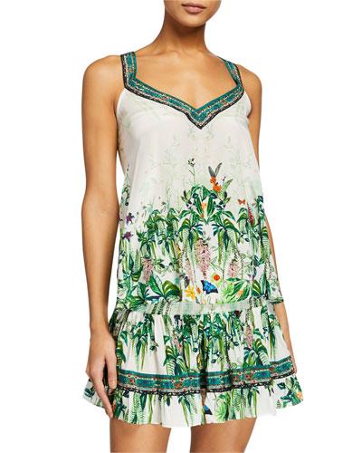 Floral V-Neck Silk Strap Top