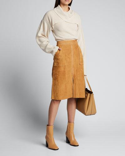 Korina Crossover Cowl-Neck Sweater