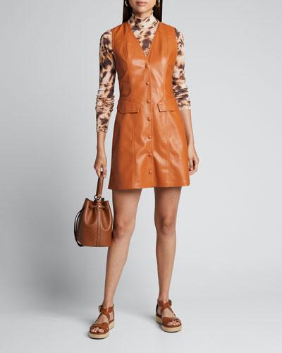 Menphi Vegan Leather Button-Front Dress