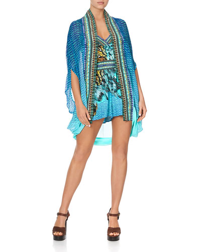 Open-Front Embellished Coverup
