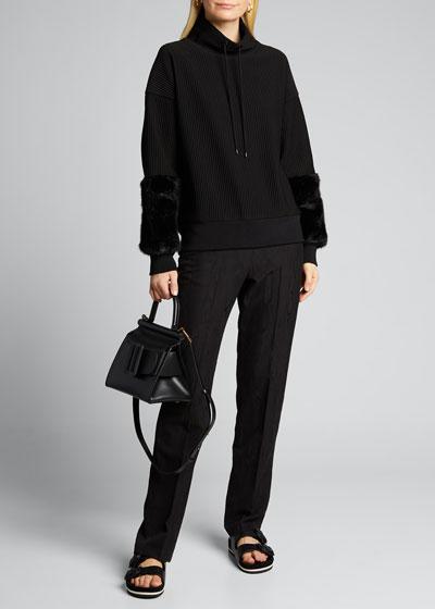 Nixie Ribbed Knit Sweater w/ Fuzzy Cuffs