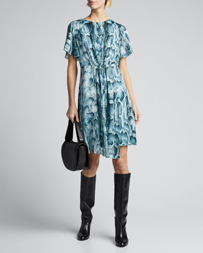 Dia Snake-Print Flutter-Sleeve Silk Dress