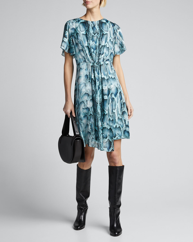 Elie Tahari Dresses DIA SNAKE-PRINT FLUTTER-SLEEVE SILK DRESS