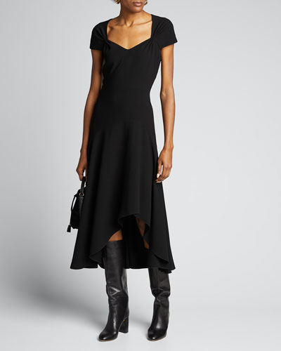 Phoenix Short-Sleeve Asymmetrical Midi Dress
