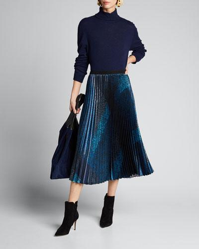 Sue Animal-Print Pleated Midi Skirt