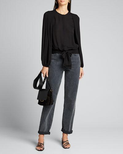 Francesca Pleated-Sleeve Silk Blouse