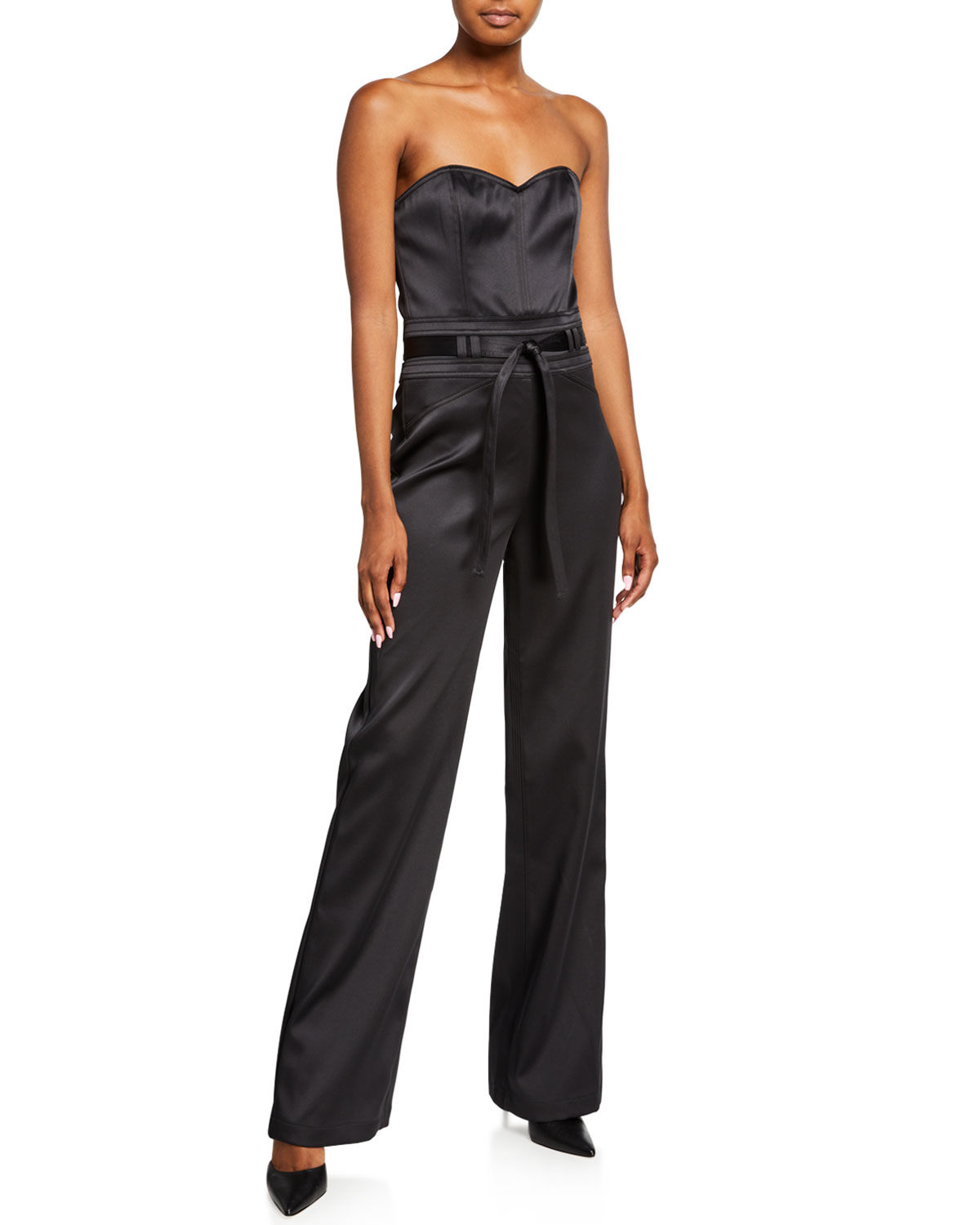 J Brand Suits JENNA STRAPLESS SATEEN JUMPSUIT