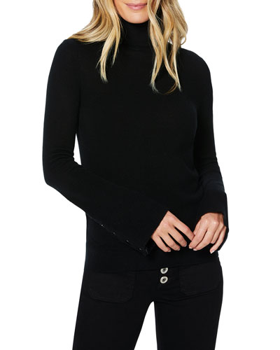 Kathy Wool-Cashmere Turtleneck Sweater with Snaps
