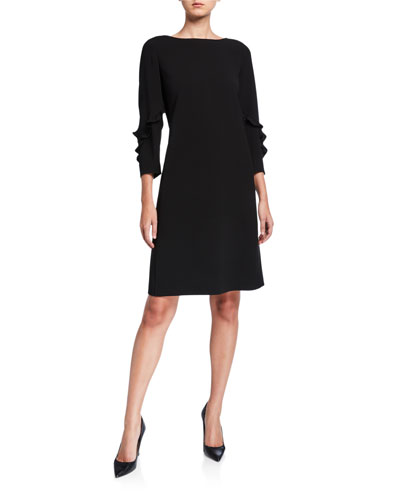 Abigail Ruffle-Trimmed 3/4-Sleeve Finesse Crepe Dress