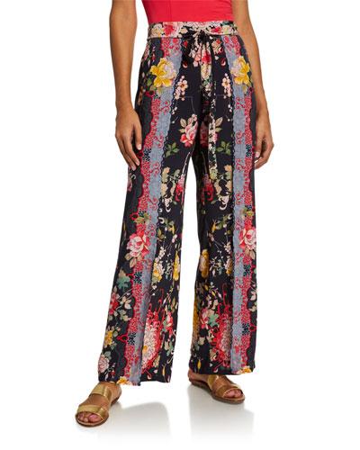 Mono Printed Split-Leg Coverup Pants