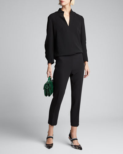 Loretta V-Neck 3/4-Sleeve Finesse Crepe Blouse