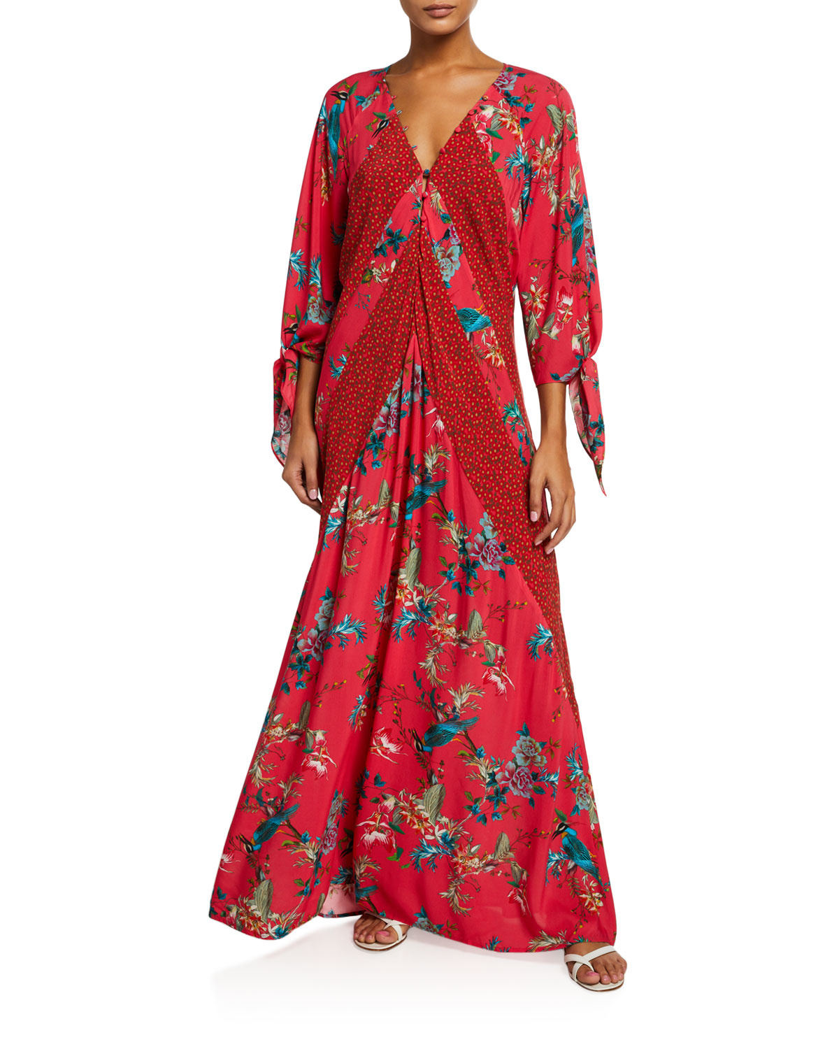Johnny Was MALAKYE PANELED FLORAL-PRINT MAXI COVERUP
