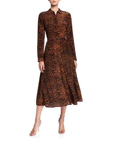 Augustina Leopard Printed Long-Sleeve Silk Midi Dress
