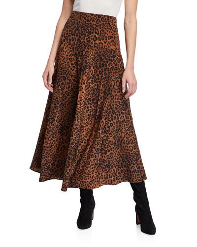 Elba Leopard Printed Silk A-Line Skirt