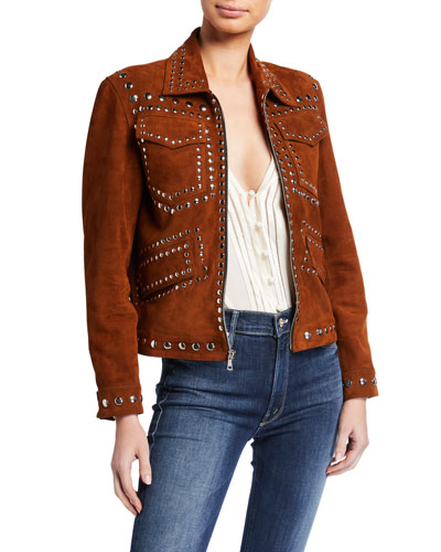 Love Lamb Suede Studded Jacket