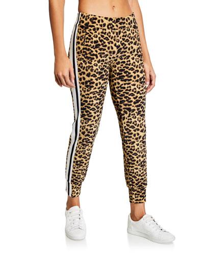 Leopard-Print Side Stripe Jogger Pants