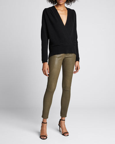 Cross-Front Cashmere Sweater