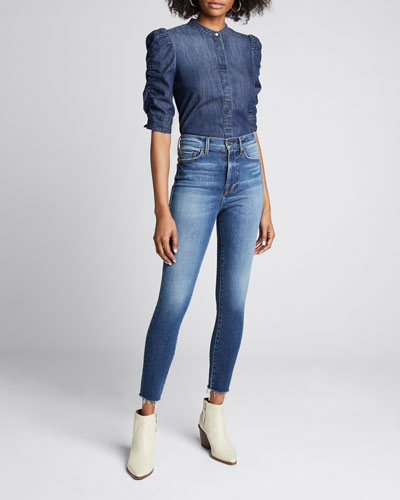Ali High-Rise Cigarette Raw-Edge Jeans