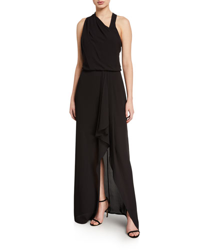 Asymmetric Draped High-Low Halter Gown