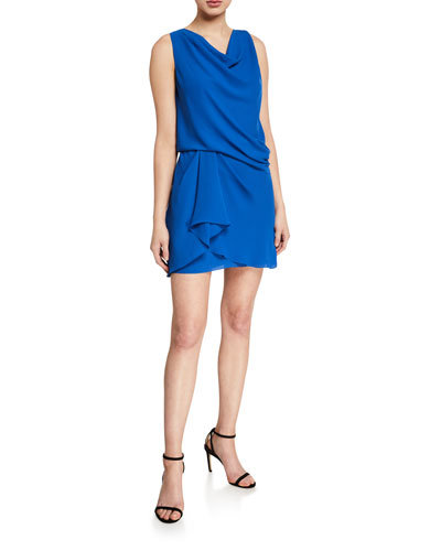 Cowl-Neck Sleeveless Draped Dress