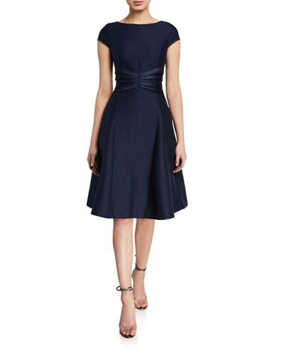 Bateau-Neck Cap-Sleeve Satin Insert Fit-&-Flare Dress