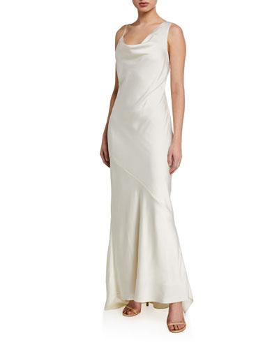 Asymmetric Satin Slip Gown