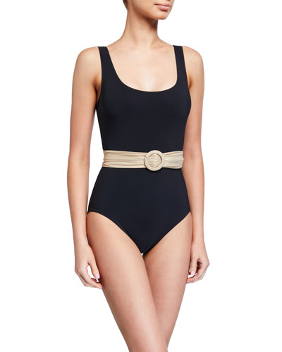 Brooke Scoop-Neck Belted One-Piece Swimsuit