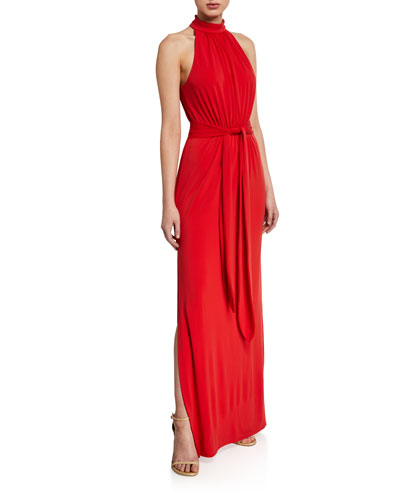 Mock-Neck Jersey Halter Gown