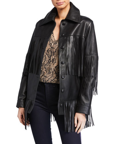 Rimon Lamb Leather Fringe Jacket, Black
