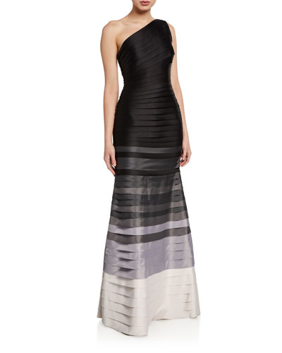 Ombre Strip One-Shoulder Mermaid Gown