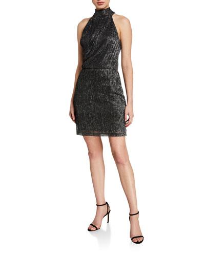 Metallic Knit Halter Dress