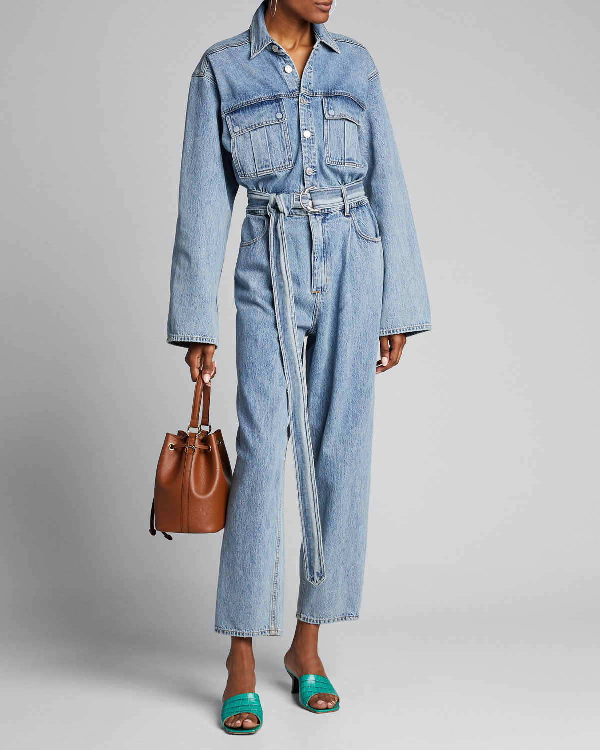 Agolde Suits TATUM LONG-SLEEVE BELTED DENIM JUMPSUIT