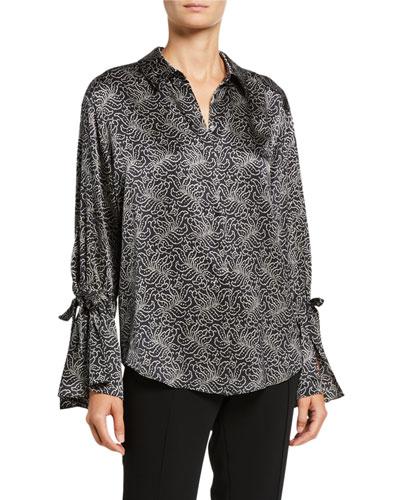Elisia Long-Sleeve Jacquard Silk Top