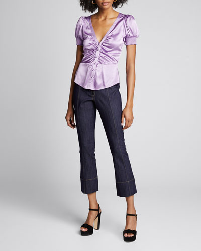 Eugenia Silk Button-Front Top