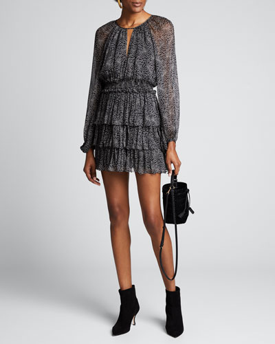 Annabel Printed Long-Sleeve Flounce Dress