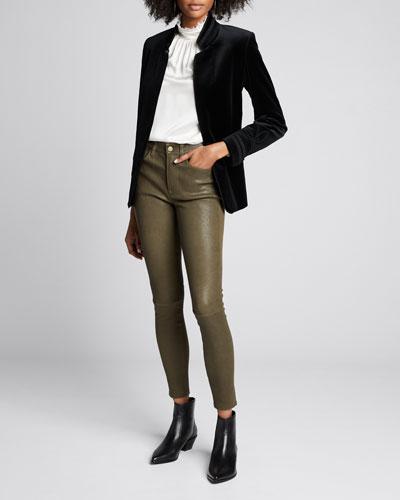 Stand-Collar Soutache Velvet Jacket
