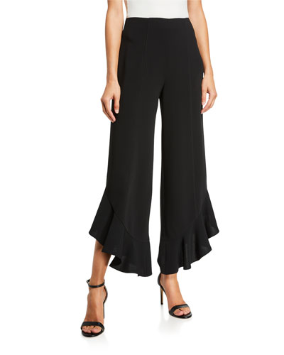 Charlie Wide-Leg Ruffle Ankle Pants